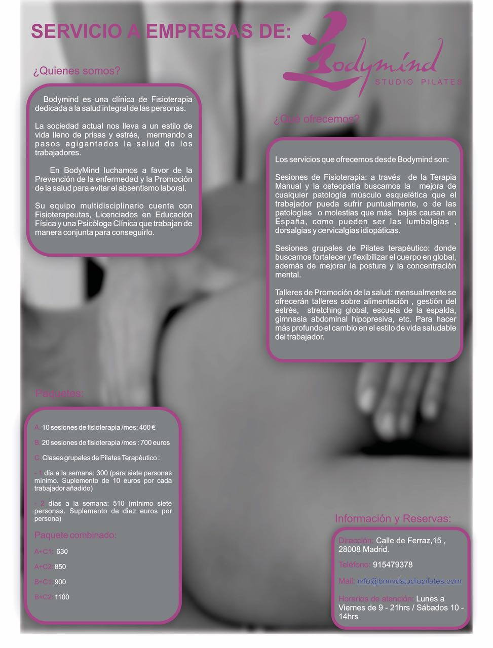 Servicio a empresas Bodymind Studio Pilates